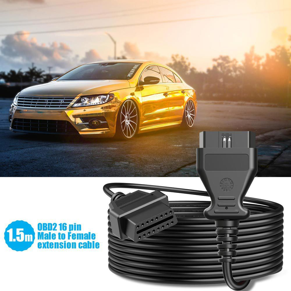 1.5m 16Pin OBD2 OBDII Cable Male to Female Extension Cable OBD2 Cable Connector Car Diagnostic Adapter